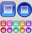 checkers board icon sign A set of twelve vintage vector image