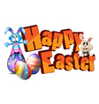 Happy Easter with two easter rabbits vector image