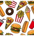 Junk food and drinks retro seamless pattern vector image