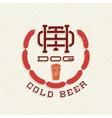 Vintage Hot Dog and Cold Beer Emblem Sign vector image
