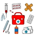 Ambulance and medical objects icons vector image