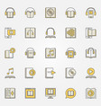 audiobook colorful icons set vector image
