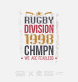 College rugby team emblem and icons vector image