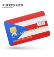 Credit card with Puerto Rico flag background for vector image