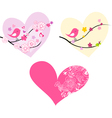 Cute birds hearts and flowers vector image