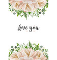 floral card design with peony flowers greenery vector image
