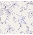 Hand drawn seamless pattern with humming bird and vector image