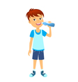 Happy boy with bottle of water vector image