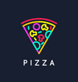 logo pizza with a slice from a whole vector image