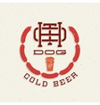 Vintage Hot Dog and Cold Beer Emblem Sign vector image