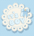 its a boy blue baby shower with blue bow vector image