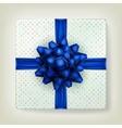 Blue bow ribbon on polka dot paper box EPS 10 vector image