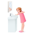 young girl brushing her teeth next to vector image