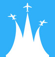 blue and white airplane with copy space background vector image