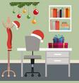 christmas workplace scene with christmas vector image