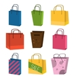 Colourful paper shopping bags isolated on white vector image