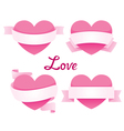 Heart With Ribbon Banner Set vector image