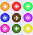 Plane icon sign A set of nine different colored vector image