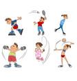 six kids practice sport vector image