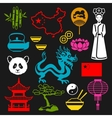 China icons set Chinese symbols and objects vector image vector image