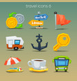 funny travel icons-set 6 vector image vector image