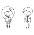 Cute trendy emo boy and girl vector image
