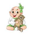 boy with a teddy bear vector image