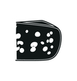 Cheese simple black icon on white background vector image