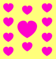 Pink heart symbol on yello background vector image