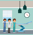 three doctors male in hospital room wheel bed vector image