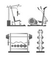 training apparatuses and weights on stands vector image