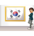 A framed flag of Korea and the young man vector image