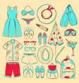 doodle colored summer beach icons collection vector image