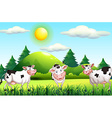 Thee cows standing in the farmyard vector image
