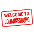 welcome to Johannesburg red grunge square stamp vector image