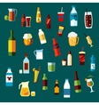 Beverages cocktails and drinks flat icons vector image