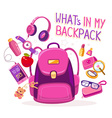 big pink backpack with many young girls vector image