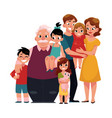 family portrait - parents children grandfather vector image