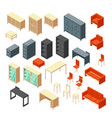 isometric 3d office furniture isolated interior vector image