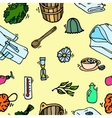 Pattern of sauna icons vector image