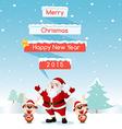 Santa and Reindeer Merry Christmas vector image