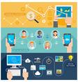 Social Network Technology Flat Banner vector image