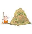Thai kid sweep the huge pile leaves vector image