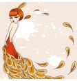 Flapper Girl in a dress of feathers vector image