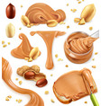 peanut butter 3d icon set vector image vector image