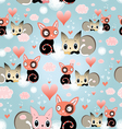 seamless pattern of love cats vector image vector image