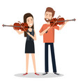 couple musicians playing musical instruments vector image