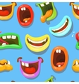Cute monsters mouths seamless pattern vector image