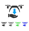 Unload drone flat icon vector image