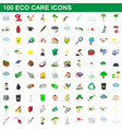 100 eco care icons set cartoon style vector image